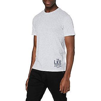 Lee Branded Tee T-Shirt, Grey (Sharp Grey Mele 03), Small Man