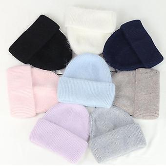 Unisex Кролик Мех Beanies Зимняя шляпа для женщины