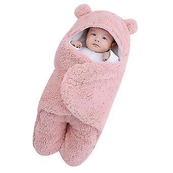 6M pink cute bear organic newborn swaddle wrap x3696