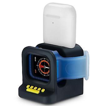 שחור עבור אוזניות Airpods שעון אפל 2 ב 1 בסיס טעינה סיליקון, שעון טעינה לעמוד, airpods שולחן העבודה לעמוד az19147