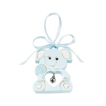 6cm Resin Blue Elephant with Bell | Hanging Decoration | Baby Shower
