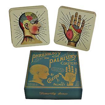 Uppsättning av 6 phrenology & Palmistry Coasters