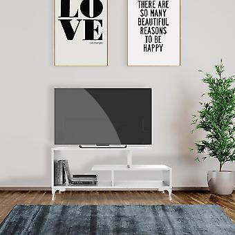 Szafka tv Bergama, Biały kolor w płytce wiórowej Melaminy, Plastik, L120xP39xA48.5 cm