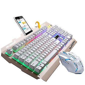 Usb cu fir tastatura metalica si mouse-ul set cu suport laptop (Gold)