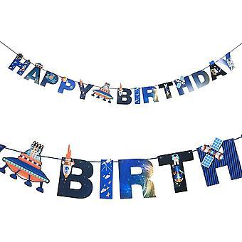 2 Meter Happy Birthday Girlande Weltraum Deko Kindergeburtstag Dekoration