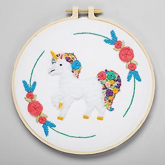 Unicorn Broderi Kit med Hoop för vuxna och äldre barn