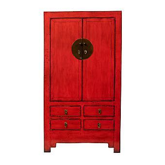 Прекрасный азиатскийживной античный китайский свадебный шкаф глянцевый красный W109xD51xH198cm
