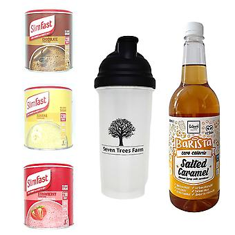 Seven Trees Farm Kit met 5 producten | 1 x Choco, 1 x Banana, 1 x Strawberry Shakes, 1 x Shaker en 1 x Salted Caramel Coffee Syrup, Wees mager en gezond!