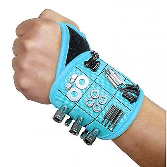 Magnetic Wristband With Super Strong Magnets Holds Screws, Nails, Drill Bit.(Blue)