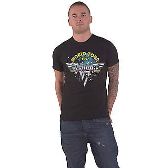 Van Halen T Shirt World Tour 78 Full Colour Band Logo new Official Mens Black