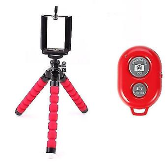 Motor vehicle video monitor mounts flexible octopus phone holder and tripod with bluetooth remote control red