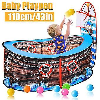 Play tents tunnels 110x50cm/43.3X19.7In pirate ship kids play tent ball pit with basketball hoop indoor and outdoor