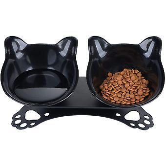 קערות מזון חתול כפול עם מעמד מוגבה 15 קסטים פלטפורמה מאכילי חתולים קערת מים