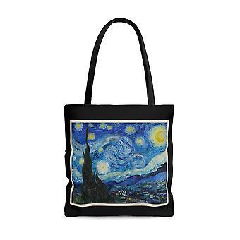 Premium polyester tote bag - vintage art | vincent van gogh: the starry night | artsy tote bag, graphic tote bag, aesthetic tote bag