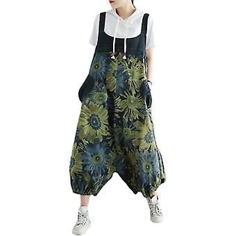 Plus Size Printed Overalls Demin Pants Jeans