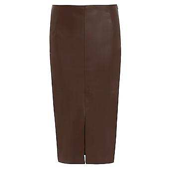 Ex River Island Leather-Look Split Front Skirt