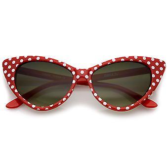 Women's Retro Polka Dot Oversize Cat Eye zonnebril 50mm