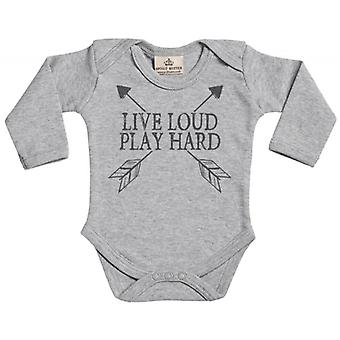 Spoilt Rotten Live Loud Play Hard Long Sleeve Organic Baby Grow