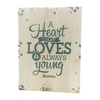 """Houten tekstbord """"Heart that loves"""" buddha"""