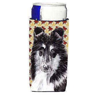 Black and White Collie Fall Leaves Ultra Beverage Insulators for slim cans