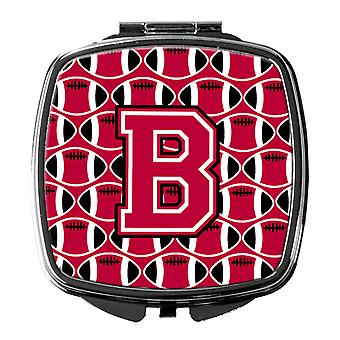 Letter B Football Crimson and White Compact Mirror