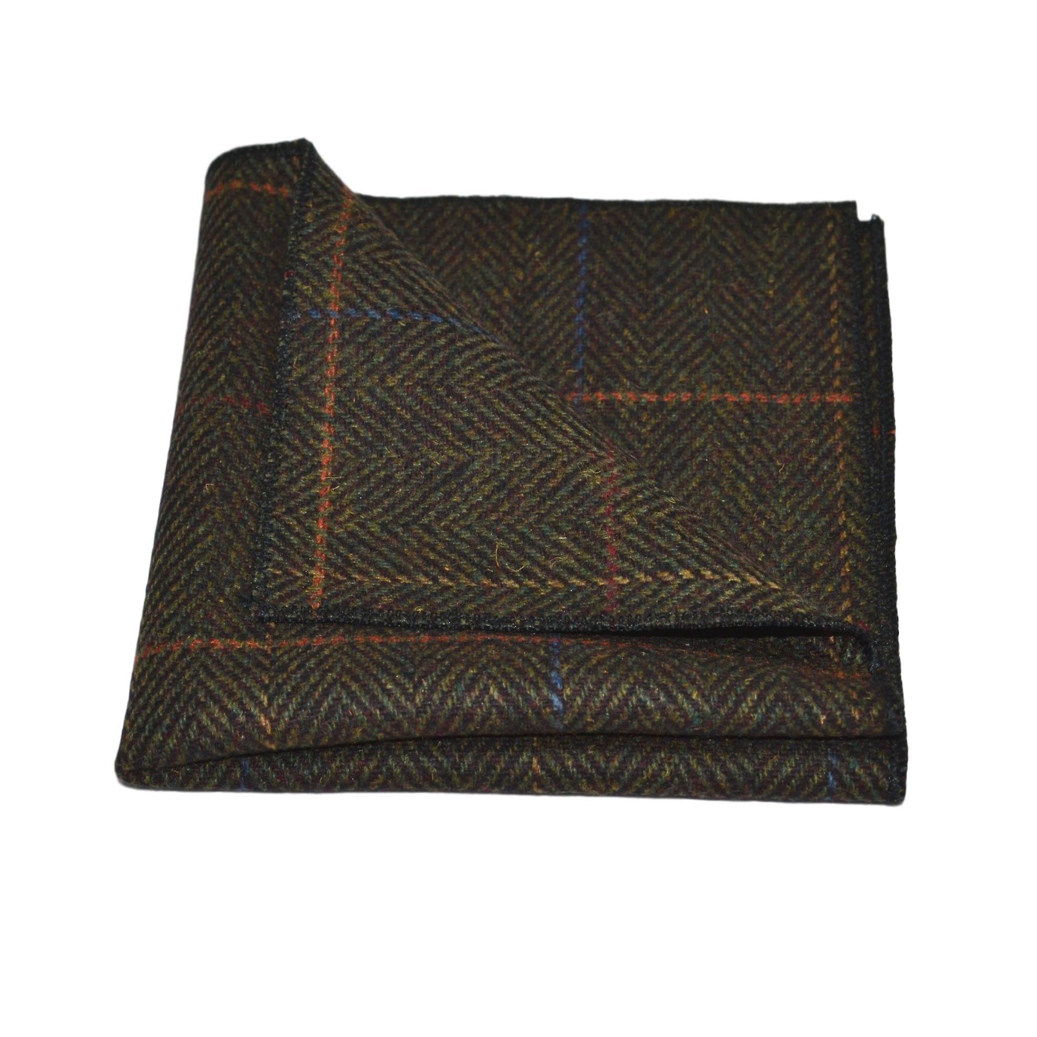 Luxury Mahogany Herringbone Check Tie & Pocket Square Set, Tweed
