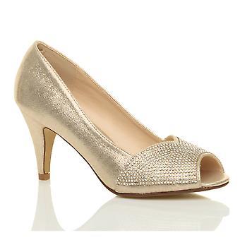 Ajvani kvinners høy hæl peep toe plattform diamante brude prom partiet retten sko sandaler