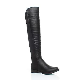 Ajvani Womens hoch über die Knie elastische kurvige Strecken ziehen auf niedrigen Heel Stiefel