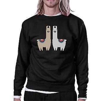 Llama Pattern Mens/Unisex Black Fleece Sweatshirt