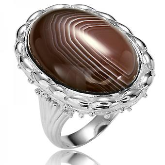 Shipton and Co Ladies Shipton And Co Silver And Botswana Agate Ring RQA435BW