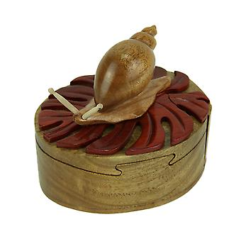Hand Crafted Wood 3D Snail Puzzle Trinket Box