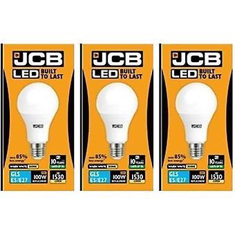 3 X JCB führte 15 Watt Schraubverschluss GLS Warm Weiß 3000K 100W Ersatz ES E27 LED Lampe [Energieeffizienzklasse A +]