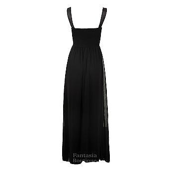 Дамы ремешок Diamante плиссированные мягкие кружева шифона длинные макси женщин платье