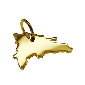 Remorque carte pendentifs en or jaune-or sous forme de République dominicaine