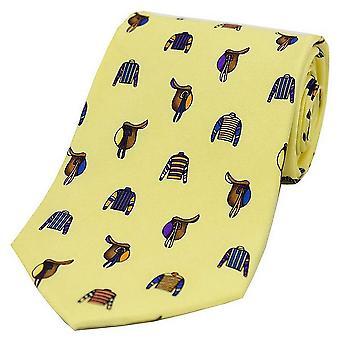 David Van Hagen Racing kleuren en zadels land zijden stropdas - Pastel geel