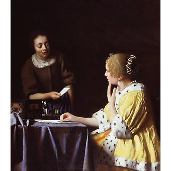 Dame met haar dienstknecht Holding A, Johannes Vermeer, 60x50cm