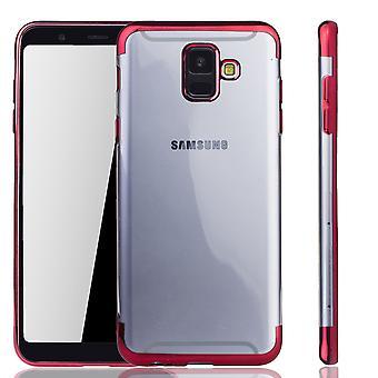 Handyhülle für Samsung Galaxy A6 2018 Rot - Clear - TPU Silikon Case Backcover Schutzhülle in Transparent / glänzender Rand Rot