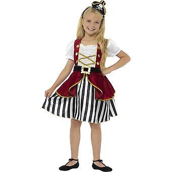 Deluxe Pirate Girl Kostüm, rot & schwarz mit Kleid & Hut
