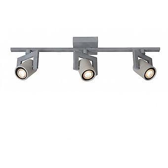 Lucide Conni-LED industriella rektangel metall grå fläck taklampa