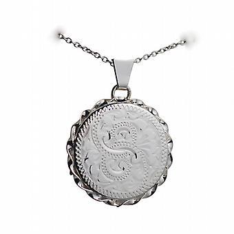 Silber 22mm hand gravierte Draht Rand flaches Rundes Medaillon mit einem Rolo Kette 14 Zoll nur geeignet für Kinder