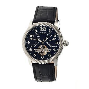 Heritor Piccard automático relógio de couro-banda semi esqueleto - prata/preto
