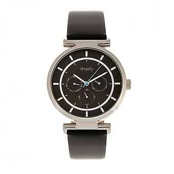 Simplify The 4800 Leather-Band Watch w/Day/Date - Black/Silver