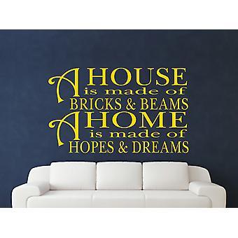 Une maison est faite de briques et de poutres v2 autocollant de mur d'art - Jaune foncé