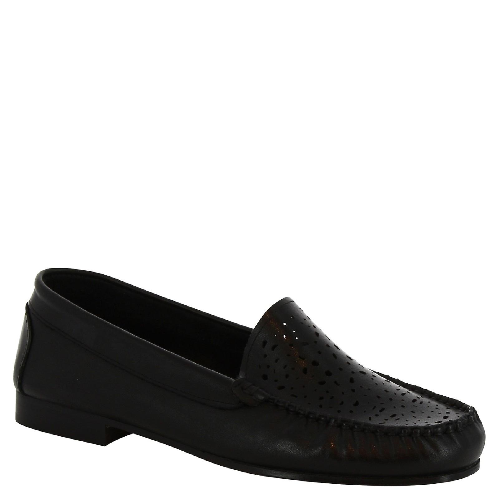 Leonardo Shoes Women's handmade loafers shoes in openwork black calf leather 0V7Rx