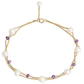 Pearls of the Orient Fine Double Chain Freshwater Pearls and Amethyst Bracelet - Purple/White/Gold