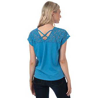 Womens Vero Moda Saga Lace Panel T-Shirt In Granada Sky