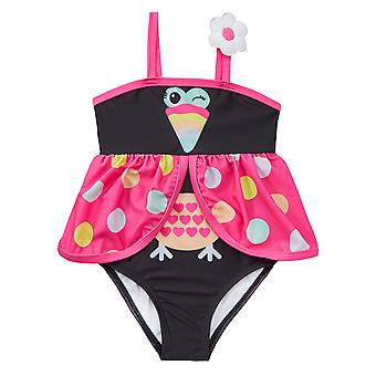 Girls black and pink novelty bird swimming costume