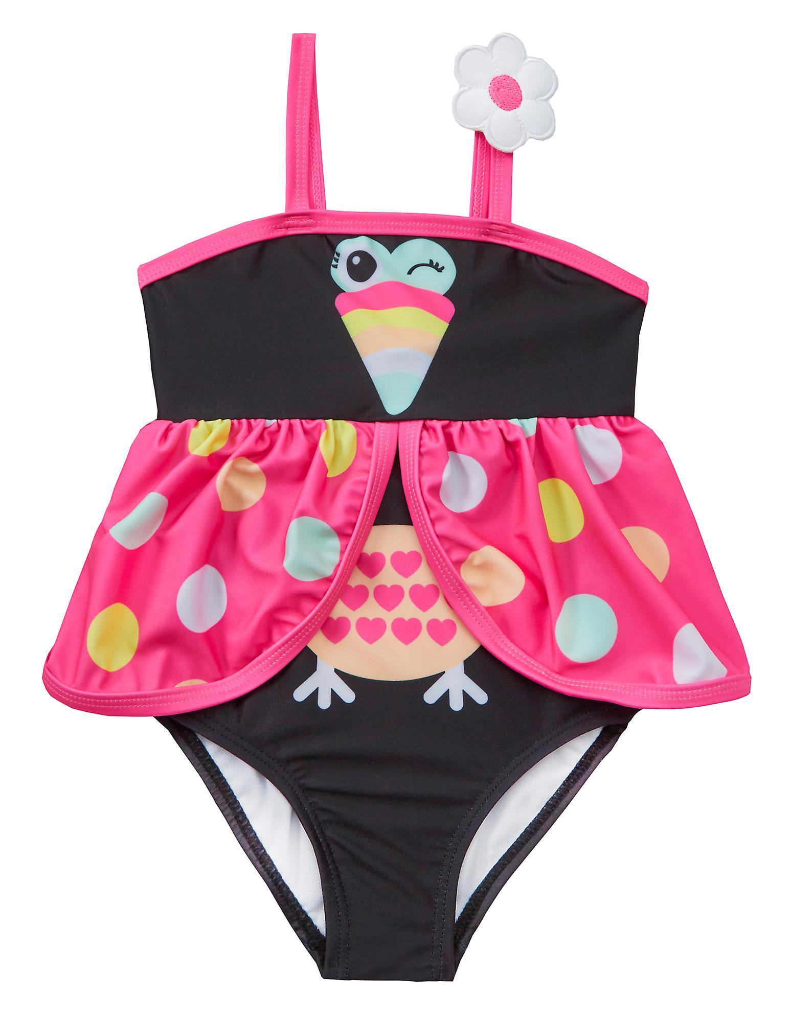 Girls black and pink novelty bird swimming costume