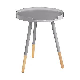 Fusion Living Grey Okrągły Taca Stół z bukowymi nogami przechylonymi