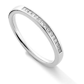 Jewelco London Platino Diamante 0.15ct VS Princesa corte Eternidad Anillo de boda - 2.3mm